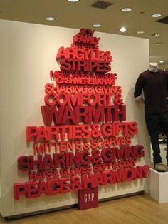 Great dimensional display using text