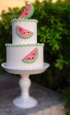 A simple summery cake with watermelon slices and ric rac trim. - adorable for watermelon party