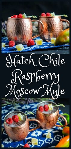 Hatch Chile and Raspberry Moscow Mule: Hatch chilies, raspberry syrup, lime juice, vodka and ginger beer!