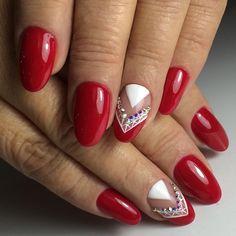 Shiny Nails, Silver Nails, Red Nails, Red Nail Art, Nail Photos, Coffin, Cute Nails, Nail Designs, Hair Beauty