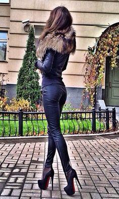 all black + fur #fashion #style #look