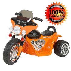 Riding Motorcycles For Kids Electric Police Bike 3 Wheels Flashing Lights Orange #LilRider