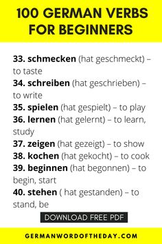 German Language Learning, Learn A New Language, Foreign Language, German Grammar, German Words, Vocabulary List, Grammar And Vocabulary, Sentence Examples, Verbs List
