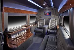 Battisti Customs Mercedes Sprinter executive office interior. Please visit www.customsprintervan.com to see more.