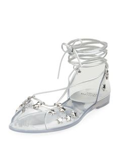 STUART WEITZMAN Glass Noodles Star Jelly Sandal, Silver. #stuartweitzman #shoes #sandals