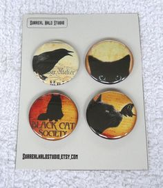 set of four magnets  black cat and crow  1.5 by SurrealMythDesigns