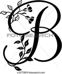 alfabeto, b, capital, lettered, monogram, script, Ampliar Gráfico Clipart