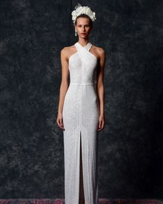 """Dakota"" sheath wedding dress with overlapping halter neck and sequins throughout Naeem Khan Wedding Dresses, Bride Reception Dresses, New Wedding Dresses, Bridal Lace, Bridal Style, Cocktail Length Dress, Bridal Jumpsuit, Lace Ball Gowns, Traditional Wedding Dresses"