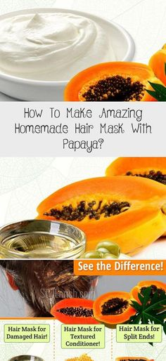 How To Make Amazing Homemade Hair Mask With Papaya? Hair Mask At Home, Hair Mask For Damaged Hair, Diy Hair Mask, Damaged Hair Repair, Face Shape Hairstyles, Hairstyles With Bangs, Diy Hairstyles, Casual Updos For Long Hair, Long Hair With Bangs