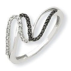 14K White Gold Black & White Diamond Ring Y7982AA