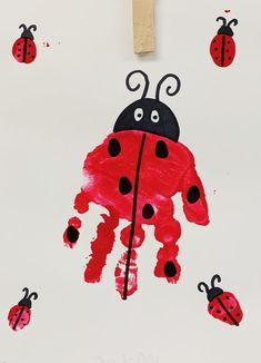 Ladybug handprint preschool craft for toddlers Summer Crafts For Toddlers, Toddler Arts And Crafts, Toddler Art Projects, Baby Crafts, Ladybug Art, Ladybug Crafts, Daycare Crafts, Classroom Crafts, March Crafts