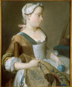 Young woman embroidering by Jean-Etienne Liotard