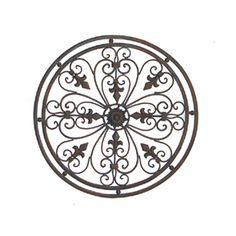 Round Tuscan Wrought Iron Wall Grille With Fleur De Lis Accents