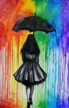 in The Rain Melted crayon art is a great aftermath. Hiking in The Rain Melted crayon art is a great aftermath. Hiking in The Rain Melted crayon art is a great aftermath. Umbrella Art, Umbrella Painting, Black Umbrella, Rainbow Art, Rainbow Colors, Rainbow Drawing, Rainbow Magic, Rainbow Things, Rainbow Pride