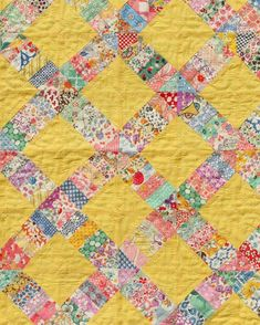 Sew Darn Inspiring! 1930's vintage seed cloth quilt ✨ Getting some good ideas for all those new yellow linens . . . . . Image from…