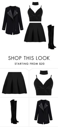 """""""Back in black"""" by amelicaa25 ❤ liked on Polyvore featuring T By Alexander Wang, Boohoo and Aquazzura"""