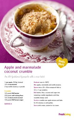 Apple and Marmalade Coconut Crumble