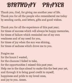 Birthday Prayer More