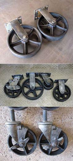 VINTAGE CASTER WHEEL STEEL SOCKET INSERT FURNITURE CHAIR STOOL