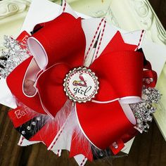 St Louis Cardinals Hairbow with Feathers Baseball