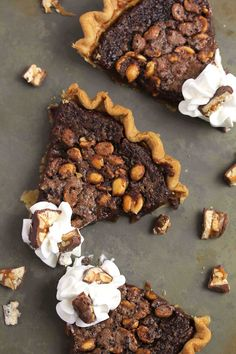 candy bar fudge pie;  a fudgy brownie, perfectly chewy and chocolatey, but with a thin layer of caramel sauce with peanuts on a flaky pie crust bottom;