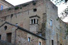 Recanati, Marche, Italy -Loggia fairytale of a massive construction by Celo Risi