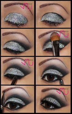 Glittery eye make up