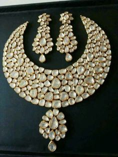 Exquisite Uncut Diamonds Polki set in 22 kt gold on order by Zeba's jewels contact me at zebamasoodk@gmail.com