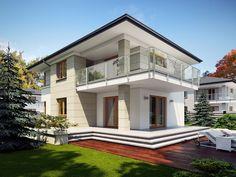 Wizualizacja TP Karat 3 CE Simple House Design, Cool House Designs, Modern Family House, Duplex Design, House Construction Plan, Mediterranean Style Homes, Facade House, Home Fashion, Luxury Homes