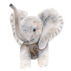 New to TinyToesDesign on Etsy: Baby Elephant Watercolor - Nursery Art Print - Kids Wall Decor - Elephant Nursery Wall Art - Neutral Nursery - Baby Animal Print - Gray (15.00 USD) #nurseryart #tombowpro