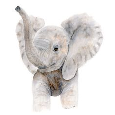 New to TinyToesDesign on Etsy: Baby Elephant Watercolor - Nursery Art Print - Kids Wall Decor - Elephant Nursery Wall Art - Neutral Nursery - Baby Animal Print - Gray (15.00 USD) #nurseryart #tombowpro