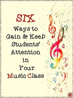 SIX Tips to Gain Students' Attention in your music classroom! These tips will help you maintain student engagement in your music lessons! Music Lessons For Kids, Music Lesson Plans, Singing Lessons, Singing Tips, Preschool Music, Music Activities, Movement Activities, Music Games, Middle School Music