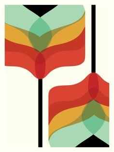 Mid Century Modern Art Falling Flowers Print/ by FatEyeDesign, $23.00
