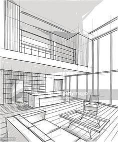 Vector illustration of interior design. In the style of drawing. Interior Architecture Drawing, Architecture Concept Drawings, Drawing Interior, Interior Design Sketches, Interior Design Tips, Architecture Design, Small Space Solutions, Small Spaces, Layout