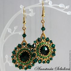 "Earrings handmade.  Fair Masters - handmade Earrings ""Emerald in gold"" with Swarovski crystals.  Handmade."