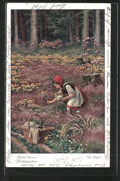 Alte Ansichtskarte: Künstler-AK Otto Kubel: Brüder Grimm, Rotkäppchen, 3. Der Wolf schlug Rotkäppchen vor...