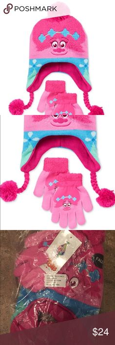 """Dreamworks Trolls Poppy Beanie Winter Hat & Gloves SOLD OUT - Keep her warm and extra cute with this vibrant Troll Poppy hat and gloves set, featuring Princess Poppy by Berkshire.  Size indicates """"Girls"""" which would be 2T-6X.  This is Brand New and still in it's original factory sealed bag, but I can do my best to measure aprox if needed. Please ask any questions.   Dreamworks Trolls 2016 Dreamworks Animation LLC All Rights Reserved Dreamworks Accessories Hats"""