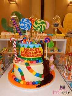Candyland themed candy bar centerpiece cake