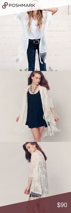 Show Me Your Mimi Metzler Leafy Luxe White Kimono Complete the boho look with this Show Me Your Mumu Fringe kimono in white. Brand new with tags. Perfect for festivals and summer time Show Me Your MuMu Jackets & Coats Vests