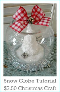 Dollar Tree Christmas Snow Globe {tutorial} - Fox Hollow Cottage Add battery operated mini lights, flowers, or other christmas/winter items inside if want. Let your mind get creative! Dollar Tree Christmas, Christmas Snow Globes, Dollar Tree Crafts, Christmas Crafts, Christmas Decorations, Christmas Ornaments, Homemade Christmas, Preschool Christmas, Diy Ornaments