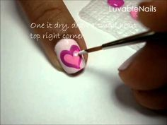 Three Pink Hearts and Ribbon; Breast Cancer Awareness nail art by LuvableNails