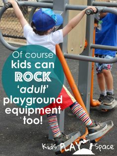 Of course kids can rock 'adult' playground equipment too! This post is another adventure in the 'let the child lead' series on Kids Play Space, exploring why kids are attracted to the equipment designed for adults and what happens when they are left to explore there. Play and layground enthusiasts - please read and join in the conversation around playground design!