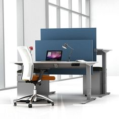 Height Adjustable Desk with Privacy Screen and Mobile File // Modern Adjustable Height Desk
