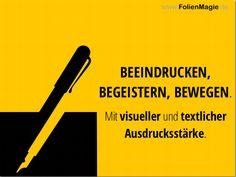 Nicht nur als visueller Mensch erscheint es in der heutigen Zeit enorm wichtig relevante Informationen anschaulich, visuell ansprechend, aufbereitet zu erhalten. Wir kreieren Ihre Präsentation: www.FolienMagie.de