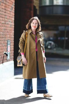 Michelle Duguid, Senior Fashion Editor ALC coat, & Other Stories shirt, Citizens of Humanity jeans, Gucci shoes, Rockins scarf, vintage Louis Vuitton bag