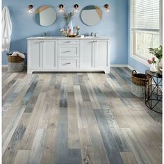 Armstrong Flooring Pryzm Waterfront x x Mixed SPC Luxury Vinyl Plank in Sky Blue Interior Modern, Home Interior, Interior Doors, Interior Designing, Luxury Interior, Bathroom Interior, Style At Home, Waterproof Laminate Flooring, Armstrong Flooring