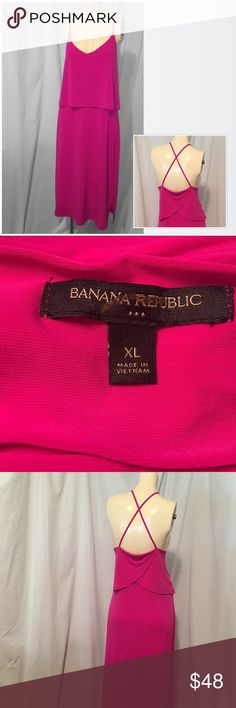 Banana Republic Ruffle Maxi Dress EUC! Pink Ruffle Maxi Dress Banana Republic Dresses Maxi