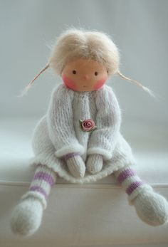 "Waldorf knitted doll Bianca 13"" by Peperuda dolls"