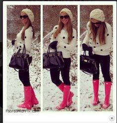 Cozy winter look with pink Hunter boots. Warm Outfits, Fall Winter Outfits, Autumn Winter Fashion, Casual Outfits, Cute Outfits, Winter Wear, Fall Fashion, Winter Looks, Cozy Winter