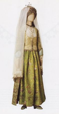 Rare festive costume from the Ios Island (Cyclades, Greece), late-Ottoman period, century. Greek Traditional Dress, Traditional Outfits, Historical Costume, Historical Clothing, Santorini, Greek Dress, Kai, Dance Costumes, Greek Costumes